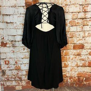Dallin Chase black lace up silk dress small 6